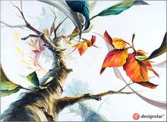 나무의 로우앵글, 명도, 나뭇잎의 흐름