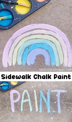 An easy tutorial to make your own sidewalk chalk paint! You only need cornstarch, water and sidewalk chalk to make this paint. Outdoor Activities For Kids, Summer Activities For Kids, Fun Crafts For Kids, Summer Kids, Toddler Crafts, Diy For Kids, Fun Ideas For Summer, Activities For Babysitting, Fun Things For Kids