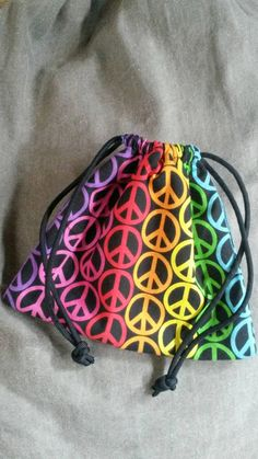 Rainbow Gift Bag - Drawstring - Pouch -  Peace Symbol - Lined -  Padded - Prepper - Bride