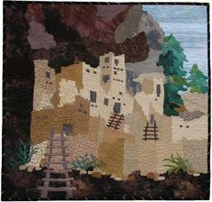 Mesa Verde: Cliff Palace is one of many beautiful art quilts made by Ann Fahl Southwestern Quilts, Southwest Art, Paper Quilt, House Quilts, Landscape Quilts, Quilted Wall Hangings, Native Art, Textile Artists, Fabric Art