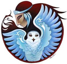 Snowy Owl Mandala Limited edition print by Nathalie Parenteau. There is a humorous side to Nathalie's art which leads to her whimsical images. Nathalie currently resides in Whitehourse, Yukon. Native Art, Native American Art, American Indians, Claudia Tremblay, Psy Art, Medicine Wheel, Arte Popular, Animal Totems, Snowy Owl