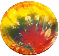 "Amazon.com: Custom & Unique {7"" Inch} 10 Count Multi-Pack Set of Medium Size Round Circle Disposable Paper Plates w/ 60's Hippie Artistic Colorful Tie-Dye ""Yellow, Green, Red & Blue Colored"": Kitchen & Dining"