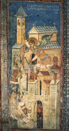 Saint Demitrios defending Thessaloniki - Decani Monastery, Serbia Religious Images, Religious Icons, Religious Art, Fresco, Byzantine Icons, Byzantine Art, Symbolic Art, Religious Paintings, Best Icons