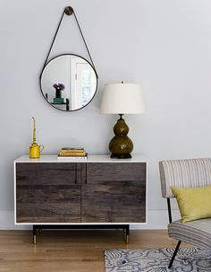how to hang a simple round mirror! (plus yellow accents)