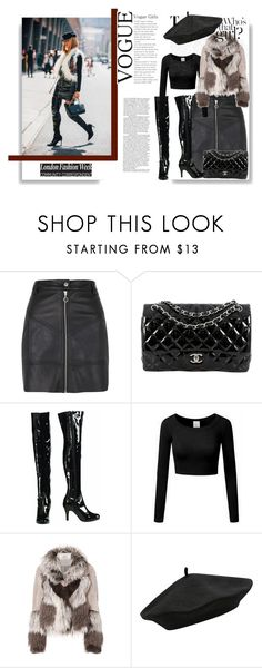"""all in black"" by iamnala on Polyvore featuring River Island, Chanel, Urbancode and M&Co"
