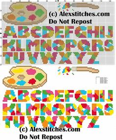 alphabet with brush and palette cross stitch pattern - free cross stitch patterns by Alex Cross Stitch Letters, Cross Stitch Art, Cross Stitch Designs, Cross Stitching, Stitch Patterns, Lego Letters, Plastic Canvas Letters, Crochet Alphabet, Basic Embroidery Stitches