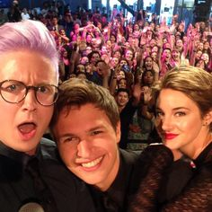 Tyler Oakley, Ansel Elgort, and Shailene Woodley