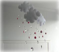Rain Cloud mobile nursery decor White clouds by LullabyMobiles, $172.00