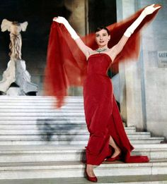 """Audrey Hepburn's red dress in FUNNY FACE ~ wow!!! Now that's s red dress....""""the lady in red"""""""