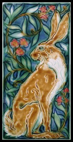The Verdant Hare. Art tile by mary Philpott 8x16 inches