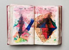 Dieter Roth - Diary, 1967 hardcover leatherbound diary with drawings, coloured sketches, collages