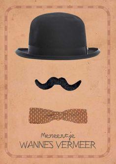 Geboortekaartjes voor jongen meneertje met hoed snor en strikje retro | origineel | retro | vintage | babykaartje