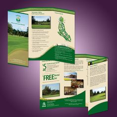Warm taupe with a contrasting cool green,  custom map for easy-to-follow driving directions, gentle curves of accent shapes guide the eye through the content creating a visually comfortable effect for the eye of the viewer. Client: City of Tumwater, Tumwater Valley Golf Course