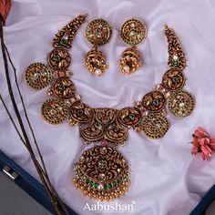 Antique Jewellery Designs, Gold Jewellery Design, Antique Jewelry, Marriage Jewellery, Gold Jewelry Simple, Necklace Designs, Antique Necklace, India Jewelry, Temple Jewellery
