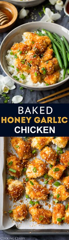 Chicken is coated with panko bread crumbs and baked instead of deep fried. Then it's covered with a delicious sticky and sweet honey garlic sauce.