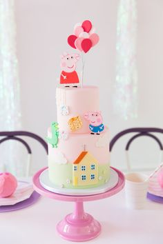 Peppa Pig Cake from Piggie Splish Splash Bash In Collaboration with Daydream Society, But First, Party! Peppa Pig Birthday Decorations, Peppa Pig Birthday Cake, Birthday Cake Girls, 2nd Birthday Parties, Frozen Birthday, Birthday Celebration, Tortas Peppa Pig, Bolo Da Peppa Pig, Peppa Pig Cakes
