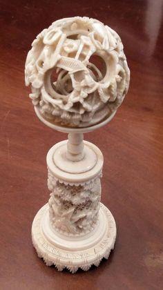 Boule de canton en ivoire Canton, Ivoire, Jade, Amber, Puzzle, Asia, Coral, Carving, Illustrations