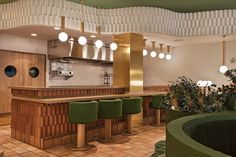 Pukkel Huesca, Wellness Restaurant Designed by Masquespacio Custom Made Furniture, Furniture Making, Toilet Plan, Restaurant Layout, Healthy Restaurant Design, Restaurant Bar, Loft Plan, Bar Plans, Green Color Schemes