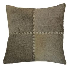 Chloe Gray Leather Throw Pillow @Zinc_Door