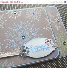 Handmade Card with Matching Embellished Envelope - Serene Snowflake