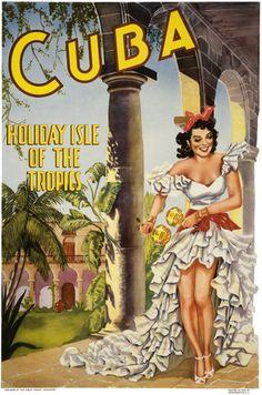 Cuba, Holiday Isle of the Tropics. Vintage travel poster. #vintage #travel #poster #tropics
