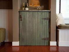 HOW TO BUILD A RUSTIC DRY BAR Add a bit of history to a household space by designing and building a useful DIY cabinet from reclaimed and rustic materials. Rustic Cabinet Doors, Rustic Cabinets, Diy Cabinets, Handmade Cabinets, Reclaimed Building Materials, Barn Door Hardware, Barn Doors, Door Hinges, Sliding Door