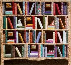 A wonderful bookshelf quilt, complete with cat! Antrim-book ... : quilt bookshelf - Adamdwight.com