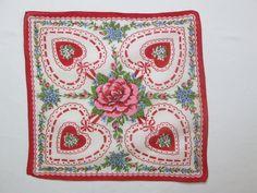 "Vintage Valentine Handkerchief Hankie Hanky Red Pink Hearts Ribbons Roses Rose 12"""