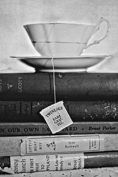 atop books.