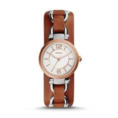 Montre pour femme : Georgia Artisan Cedar Leather Watch