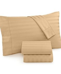 Charter Club Damask Stripe Sheet Sets, 500 Thread Count 100% Pima Cotton, Only at Macy  Color: HAZELNUT