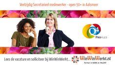 #vacature #secretarieel #Aalsmeer open voor #50plus. https://www.winwinwerkt.nl/vacatures/vacature-veelzijdig-secretarieel-medewerker-open-50-aalsmeer-4519572-11.html