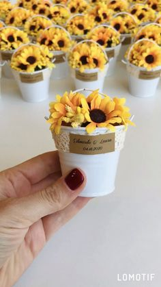 decoration event Sunflower Wedding Favors for guests, Sunflower wedding gifts, Sunflower themed party favors. Tin Pails with Sunflowers. Mini buckets wedding favors with personalized Sunflower Wedding Decorations, Rustic Wedding Decorations, Fall Sunflower Weddings, Sunflower Party Themes, Sunflower Cupcakes, Paper Sunflowers, Yellow Wedding Flowers, Rustic Wedding Flowers, Wedding Cakes With Sunflowers
