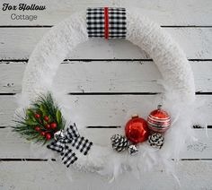 How To Make A Snowy Jingle Bell Wreath at foxhollowcottage.com - A DIY Home Decor Craft