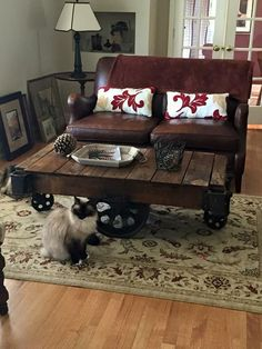 Lineberry Railroad Cart In Its New Home As A Coffee Table. Cat Approves! We