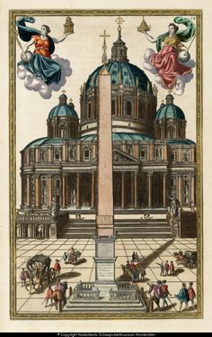 Afbeelding van de Obelisco Vaticona op het Sint Pietersplein te Rome (circa 1586), met twee allegorische figuren