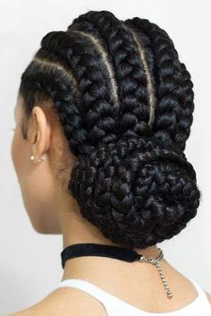 Braided Low Bun ❤️ Looking for cornrows braids for black women? These straight back cornrows, big braided updo, side braided hairstyle and lots of cool hairdos will make you look like goddesses. Cornrows Braids For Black Women, Black Girl Braids, African Braids Hairstyles, Braids For Black Hair, Girls Braids, Braid Hairstyles, Big Cornrows, Hairstyles 2016, Updo Hairstyle