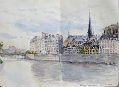 landscape sketch painting: In Paris last week- Moleskine sketches