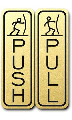 Classic Fun Push Pull Door Sign (Brushed Gold) Best Price