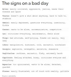 The Signs On A Bad Day