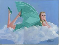 FAIRY ON CLOUDS ART DECO DAISIES GREEN WINGS SHOES DRESS LISTED ARTIST PAINTING in Art, Art from Dealers & Resellers, Paintings | eBay