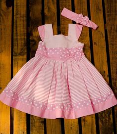 Pink and white striped. Pink headband with bow Baby Girl Dress Patterns, Dresses Kids Girl, Little Girl Dresses, Cute Dresses, Kids Outfits, Toddler Girl Style, Toddler Dress, Baby Dress, Look Chic