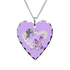 Cupid Pearls Floral Heart Silver Heart Necklace