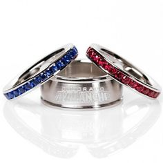 Logo Art Colorado Avalanche Ladies Spirit Crystal Stacked Ring Set - For my secret love of the Avalanche.