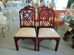 4 Vintage Red Fretwork Pagoda Chairs on Circa Who $2400