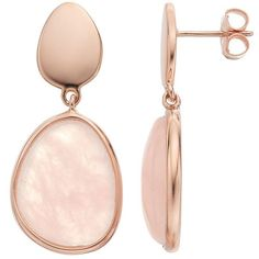 14k Rose Gold Over Silver Rose Quartz Teardrop Earrings ($200) ❤ liked on Polyvore featuring jewelry, earrings, pink, pear earrings, silver tear drop earrings, bezel earrings, pink gold earrings and pink teardrop earrings