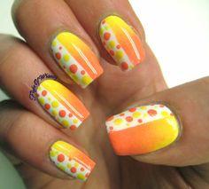 A Nail Divided in shades of yellow  #nailart #nails #ombre #polish - bellashoot.com