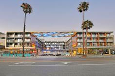 Shore Hotel Santa Monica on Ocean Avenue at dusk. Michael Gardner Photography