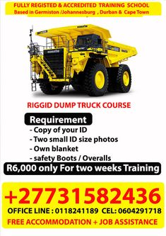 At Mulani Operators Training School - South Africa +27731582436 of training Accredited Certificate and License for Machinery Training and Accredited Certificate for Welding issued. Fees: 100% fees is payable at the start of the course. Yes job assistance after training. (PLEASE NOTE, WE DO NOT GUARANTEE JOBS, but we assist you by sending your CV to different mining and construction companies on your behalf) Yes you can enroll any day of the week any month. Drilling Rig, Training School, Dump Truck, Health And Safety, Cape Town, Construction Companies, Trucks, Welding, Certificate