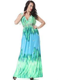 Plus Size Green Silk Boho Summer Dress With Deep V Neck - iDreamMart.com